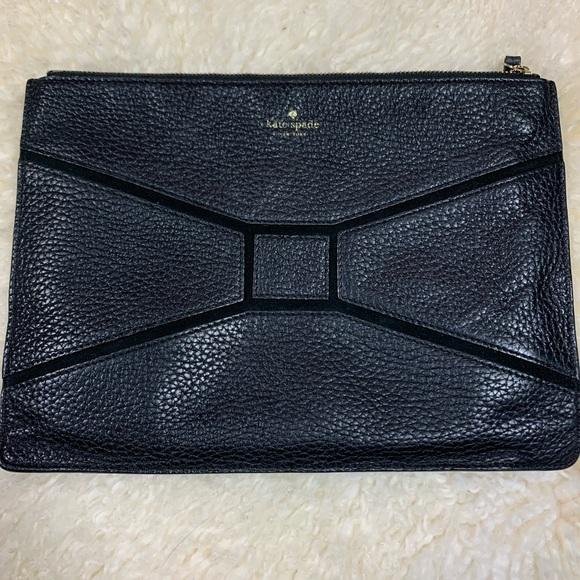 kate spade Handbags - Kate Spade Black Zippered Pouch Leather